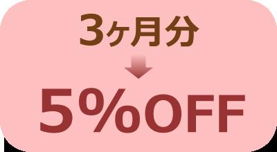 3カ月→5%OFF